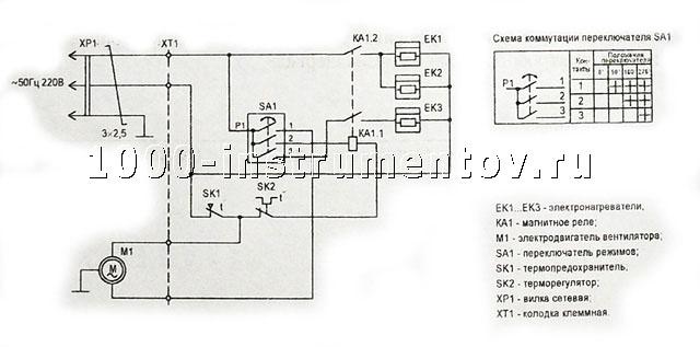 Схема электрическая принципиальная тепловентилятора