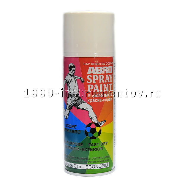 Краска спрей белая глянцевая РТ-016 Abro