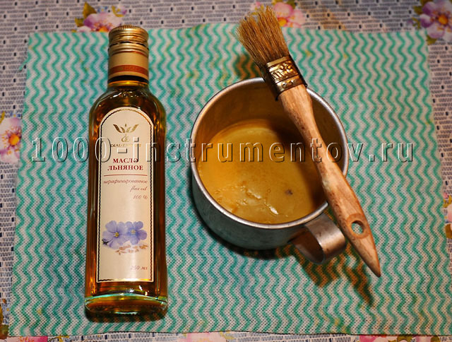 Льняное масло и пчелиный воск для вощения бочки